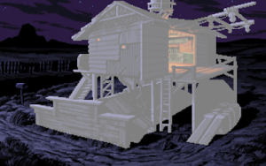 A screen from Full Throttle with the building in the foreground whited out to show its silhouette
