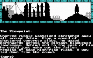Screenshot from Mindfighter showing the silhouette of a ruined city